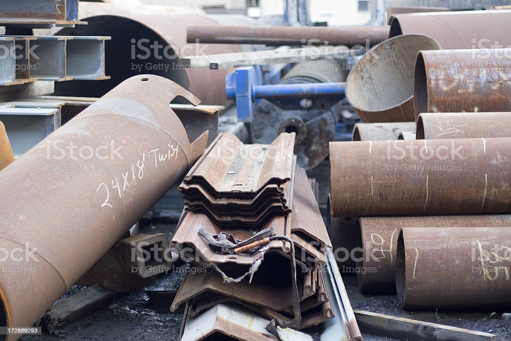 Industrial pipes and recycled metal royalty-free stock photo