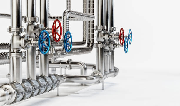 Industrial Pipes with Valves on White Background stock photo