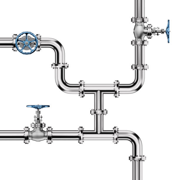 Industrial Pipes with Valves on White stock photo