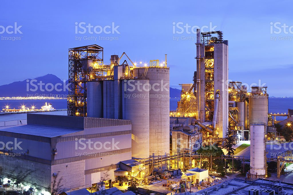 Industrial plant at dusk stock photo