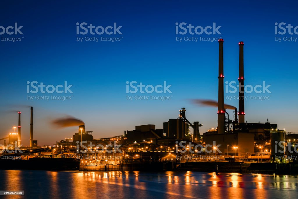Industrial plant at twilight stock photo