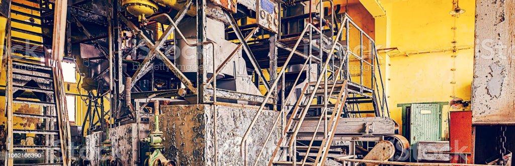 Industrial plant equipment derelict-3 stock photo