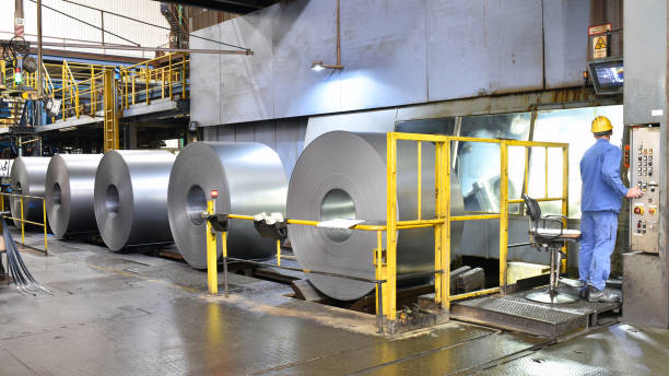 industrial plant for the production of sheet metal in a steel mill stock photo