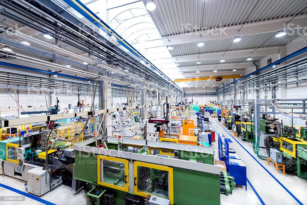 Industrial plant of plastic global business stock photo
