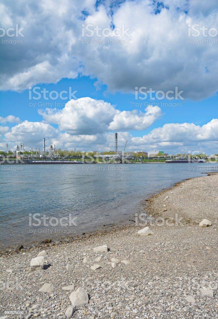 Industrial Plant,Rhine River,Rhineland,Germany stock photo