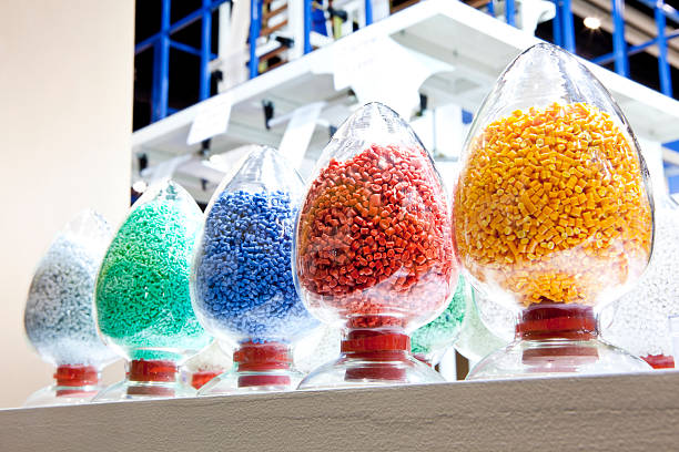 industrial plastic granules stock photo