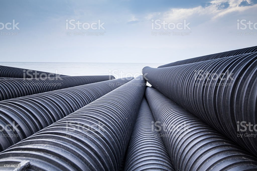 Industrial plastic pipe stock photo