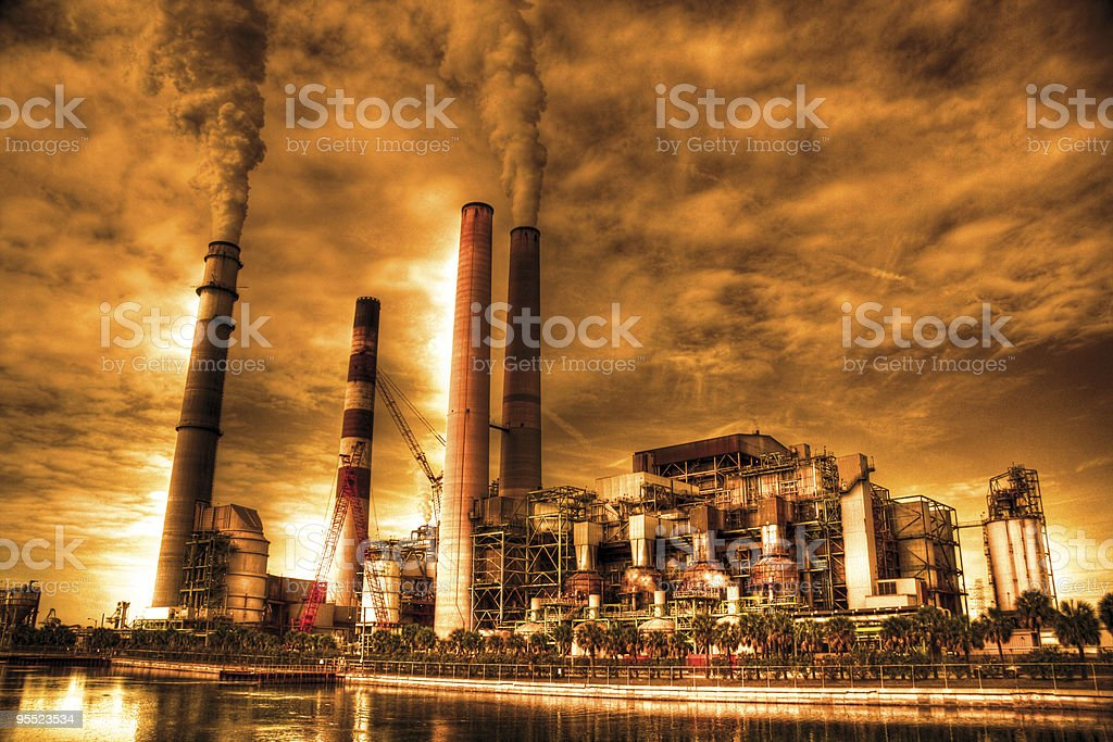 Industrial pollution effects global warming stock photo