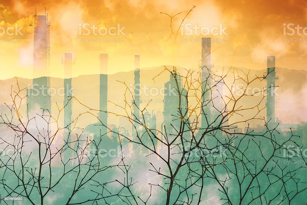 Industrial pollution nature disaster concept. stock photo