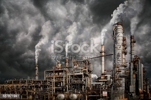 Industrial plant emitting fumes and creating pollution