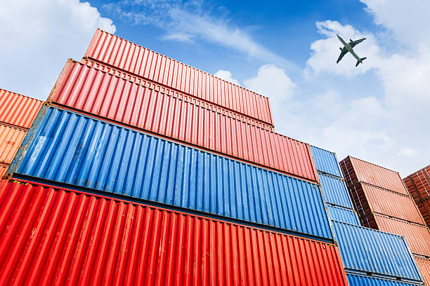 Industrial port and container yard stock photo