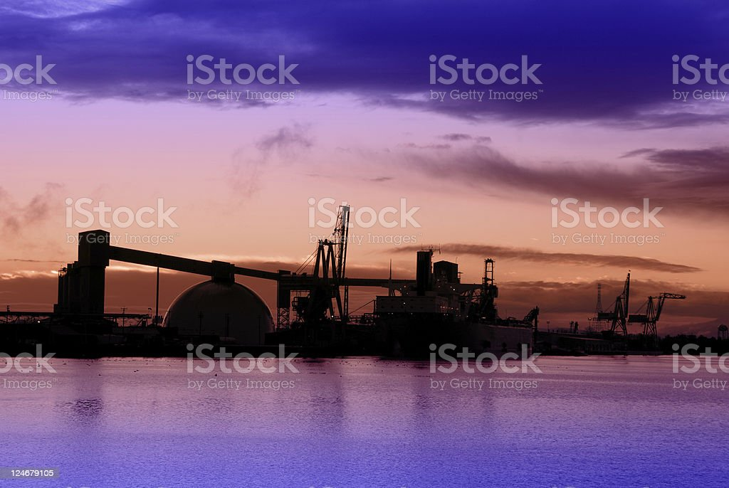 Industrial Port At Dusk stock photo