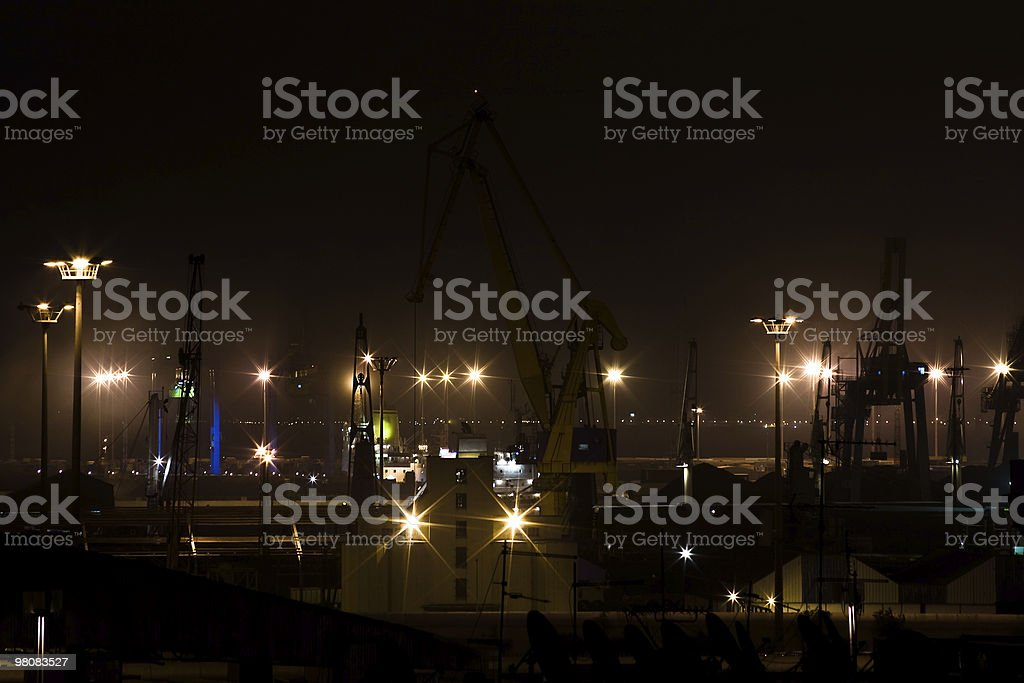 Industrial port by night royalty-free stock photo