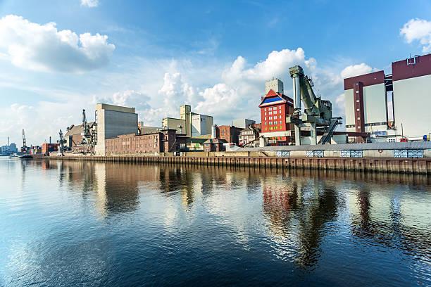 Industrial port in Bremen stock photo