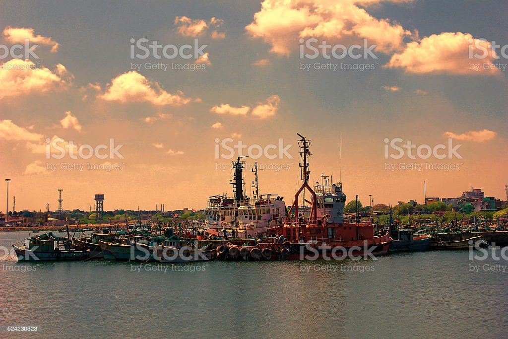 Industrial Port in sunset stock photo