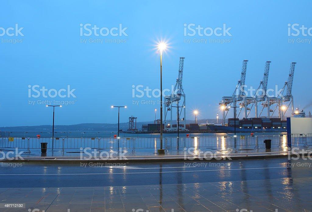 Industrial port of Koper in Slovenia at night stock photo