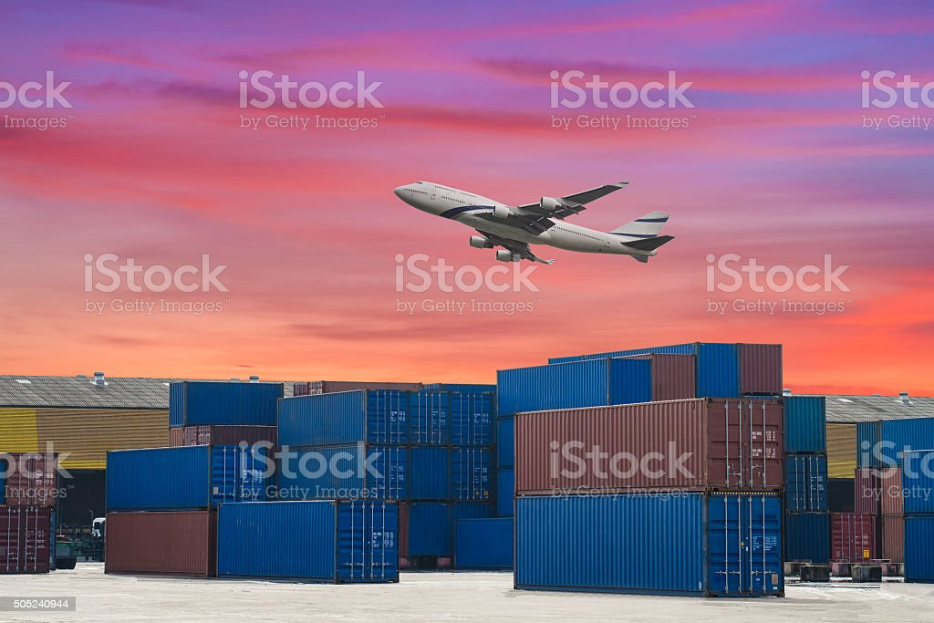 industrial port with containers and air for logistic concept stock photo