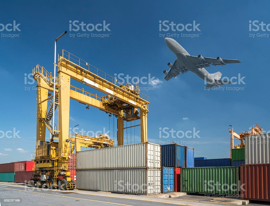 industrial port with containers in port stock photo