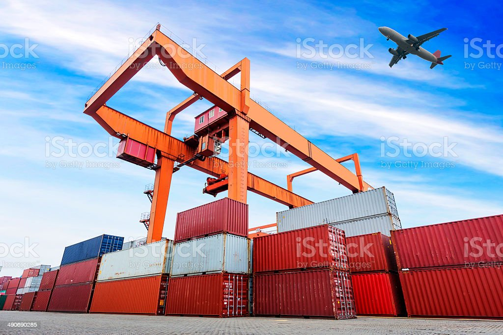 industrial port with containers royalty-free stock photo