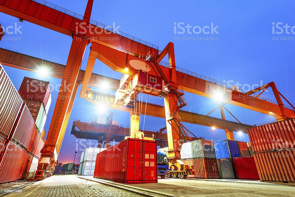 industrial port with containers stock photo