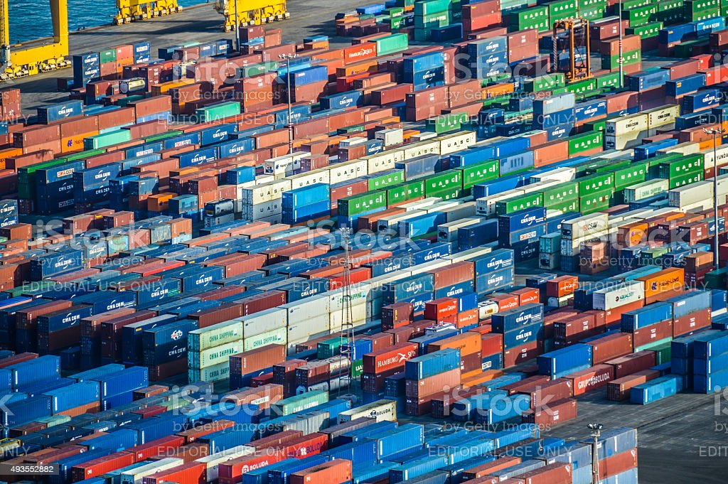 Industrial port with shipping containers stock photo