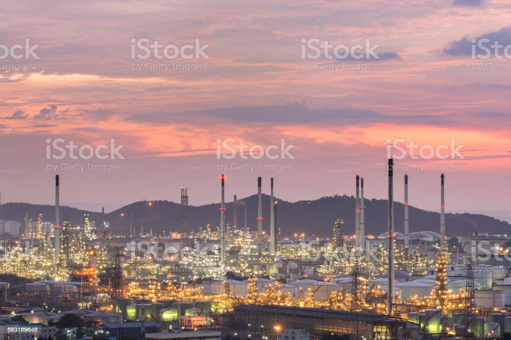 industrial power plant oil station night royalty-free stock photo