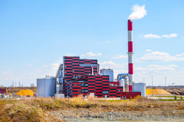 Industrial power plant, Tallinn Estonia. Ecological friendly energy reneration using secondary raw materials (wooden) stock photo