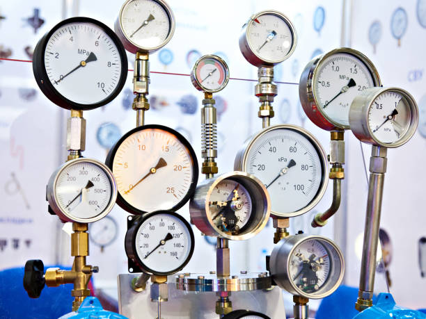 industrielle drucksensoren - luftventil stock-fotos und bilder