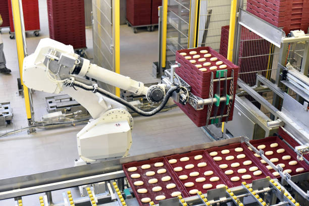 industrial production of bakery products on an assembly line - technology and machinery in the food factory stock photo