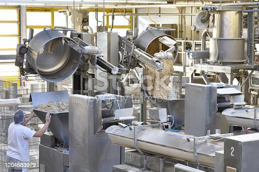 istock industrial production of bakery products on an assembly line - technology and machinery in the food factory 1204683979