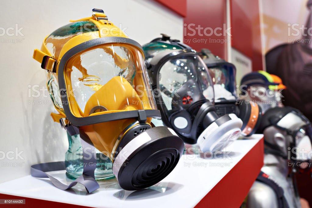 Industrial protective face masks for hazardous work stock photo