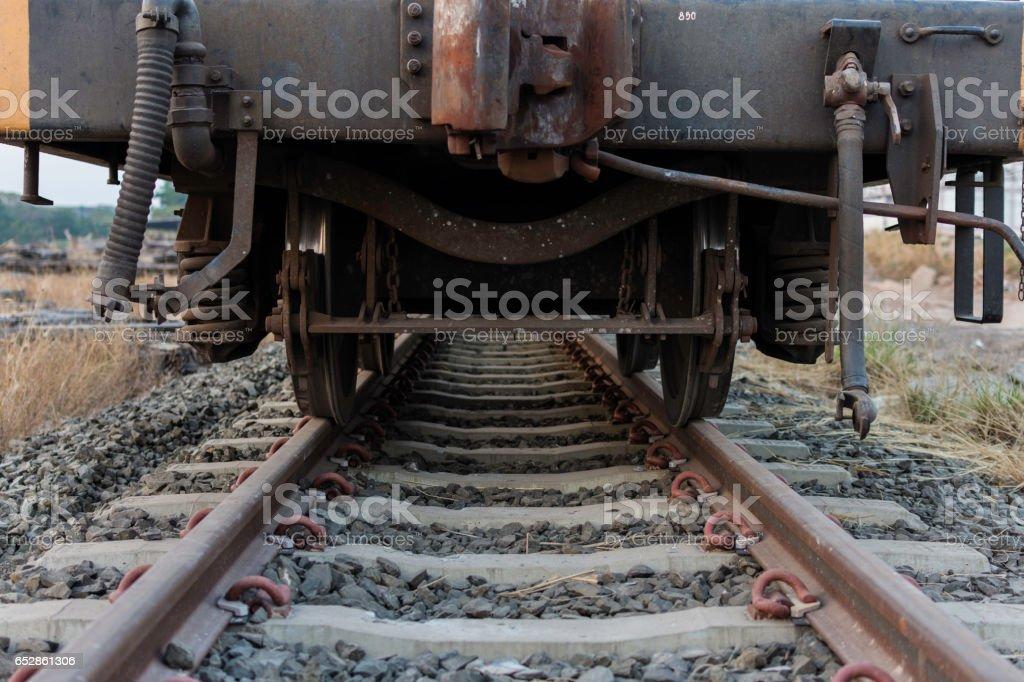 Industriele Wielen Oud.Industriele Spoor Auto Wielen Closeup Foto Trein Wiel Stockfoto En