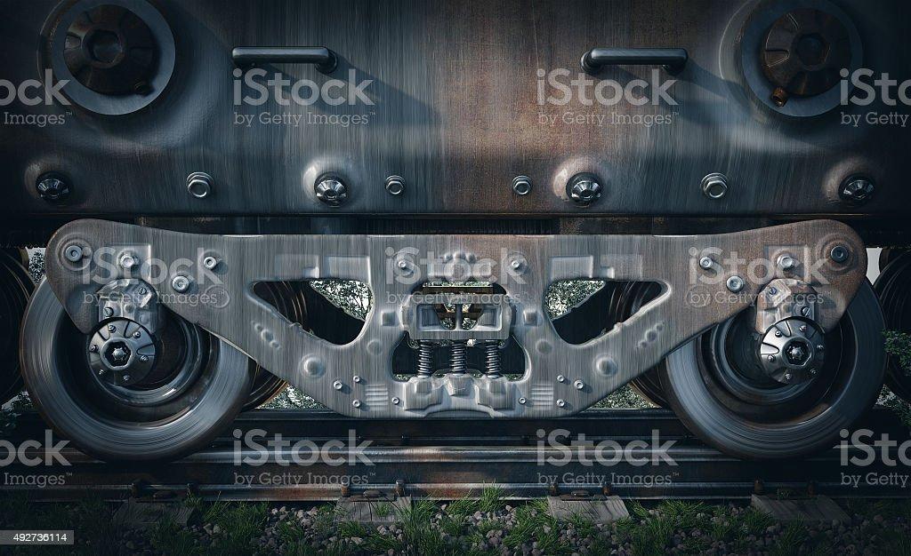 Industrial rail train wheels closeup technology black and white photo stock photo