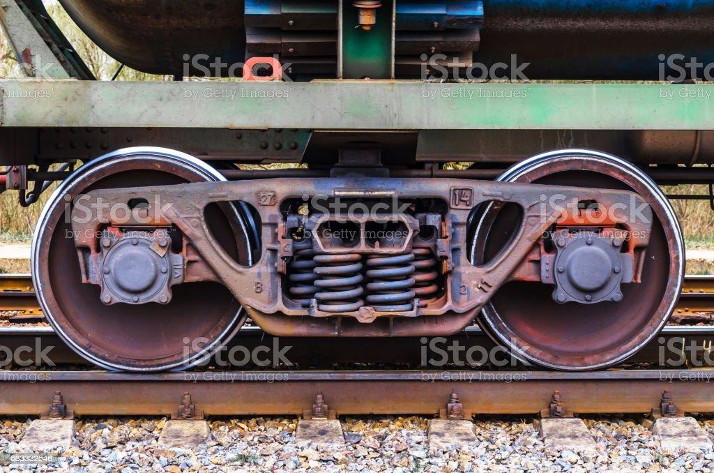 Industrial rail train wheels closeup technology train rail road. stock photo