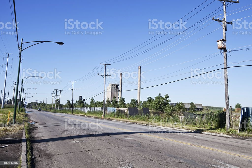 Industrial Road in Chicago Southeast Side. royalty-free stock photo