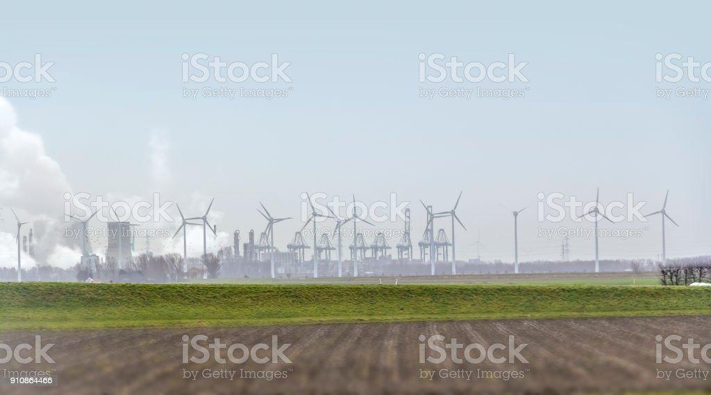 industrial roadside scenery stock photo