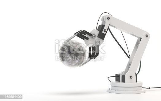istock Industrial robot isolated on a white background. Robotic hand holds a moon. Conceptual creative image of artificial intelligence with copy space. 3D render 1169584409