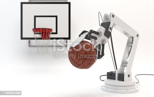 910163152 istock photo Industrial robot on a white background. Robotic hand holds a ball on the background of a basketball backboard. Conceptual creative image of artificial intelligence with copy space. 3D render. 1169584488