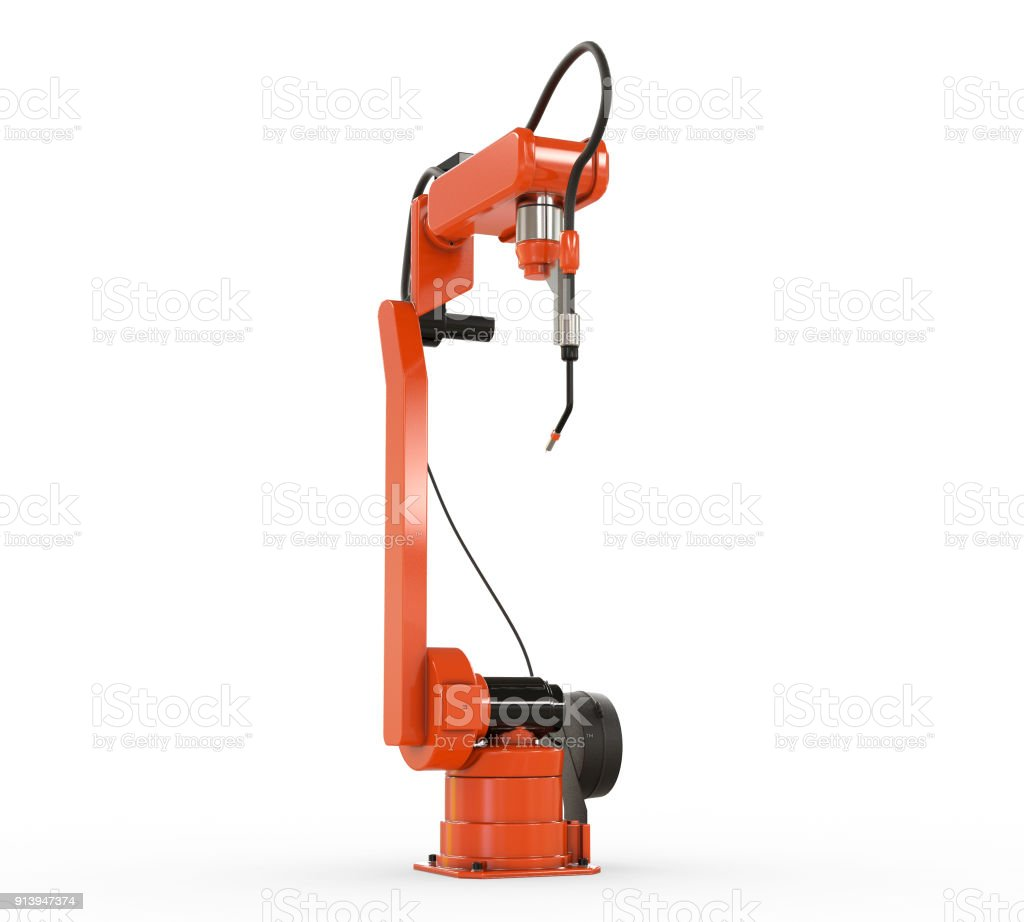 Industrial Robotic Arm Isolated On White Stock Photo