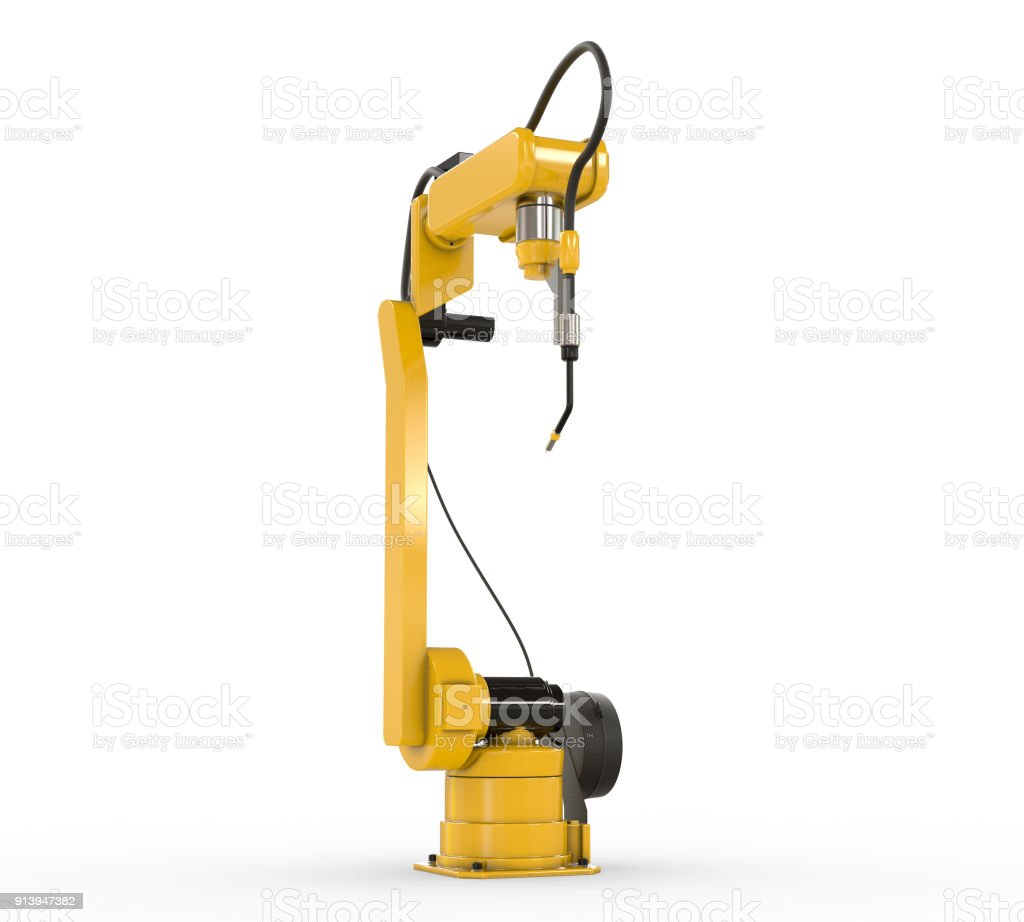Industrial Robotic Arm Isolated On White Stock Photo - Download
