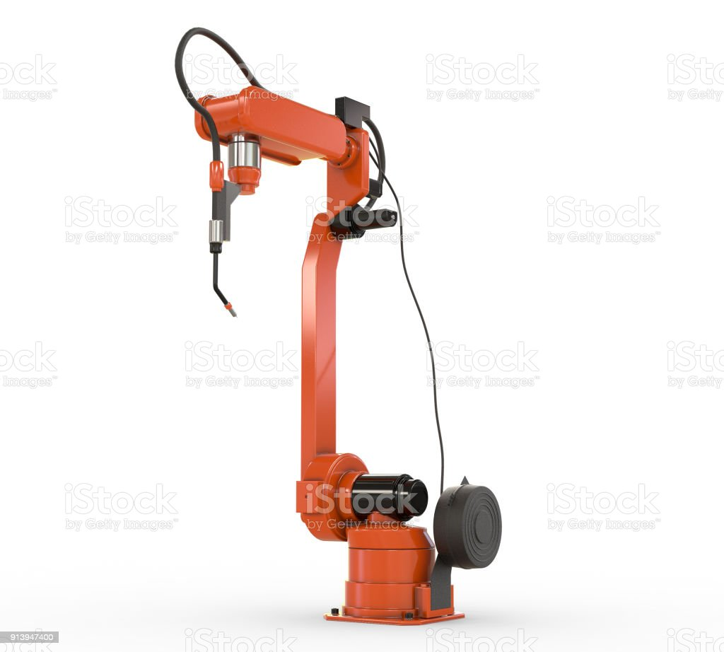 Industrial Robotic Arm Isolated On White Stock Photo - Download Image Now