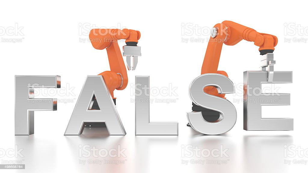 Industrial robotic arms building FALSE word stock photo