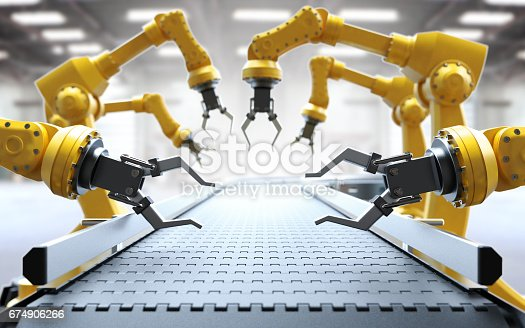 istock Industrial robotic arms 674906266