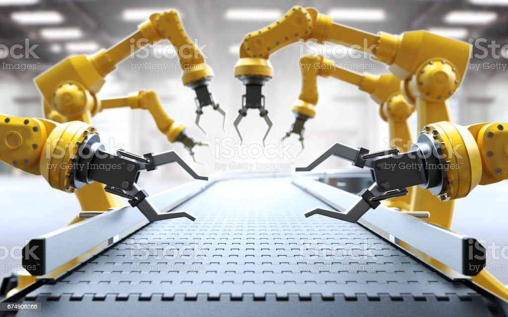 Industrial robotic arms stock photo