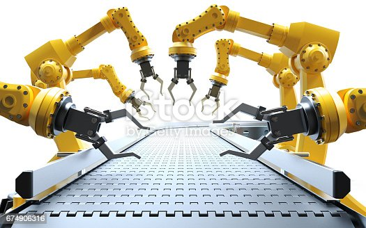 istock Industrial robotic arms 674906316