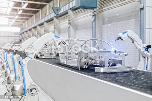 1069360792 istock photo Industrial Robots At The Automatic Car Manufacturing Factory Assembly Line 1157353975