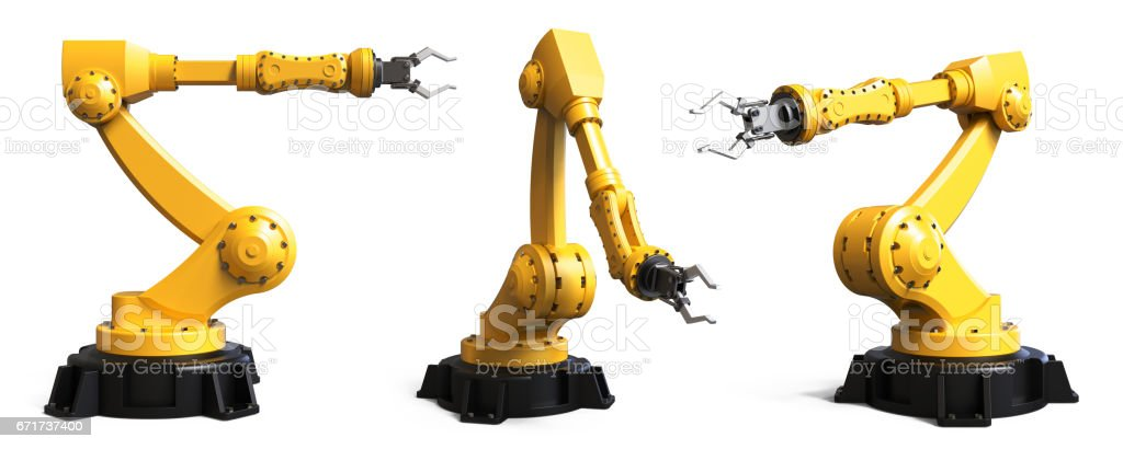 Industrial robots stock photo