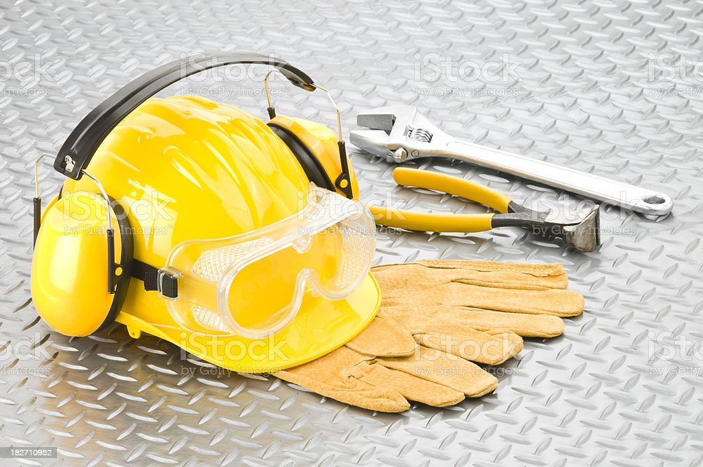 Industrial Safety Workwear And Tools Shot on Diamondplate Background stock photo