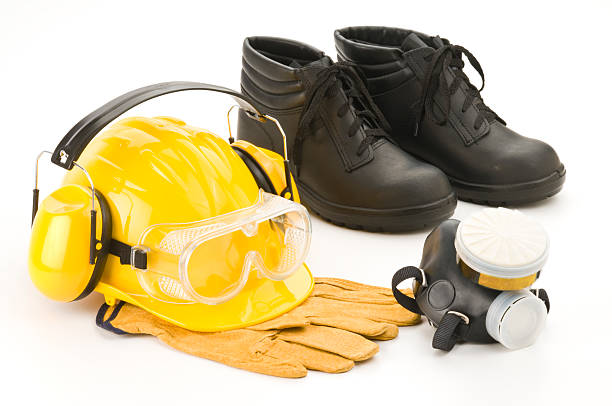 industrial safety workwear. - protective mask workwear stock pictures, royalty-free photos & images