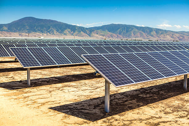 Industrial Scale Photovoltaic Solar Panel Array In Bakersfield, California stock photo
